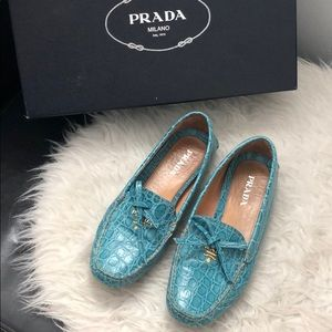 •MAKE OFFER Prada snakeskin moccasins